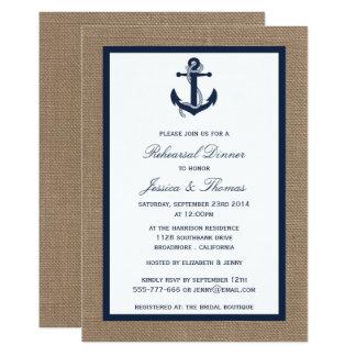 バーラップの航海のなリハーサルの夕食の海軍いかり 12.7 X 17.8 インビテーションカード