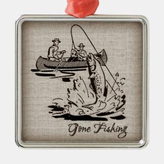 バーラップの行った採取のヴィンテージのカヌーのカヤックの魚 メタルオーナメント