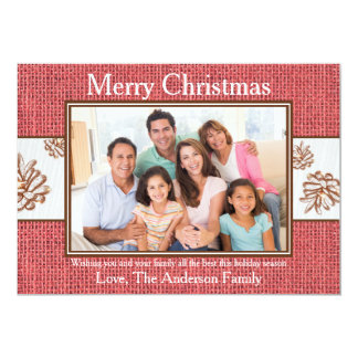 バーラップのPineconesの赤い写真-クリスマスカード カード