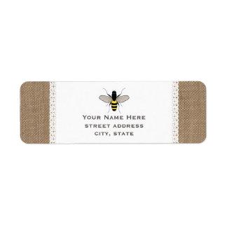 バーラップ及びレースの刺激を受けたな蜂蜜の蜂の宛名ラベル ラベル
