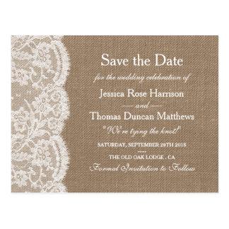 バーラップ及びレースの結婚式のコレクションの保存日付 ポストカード