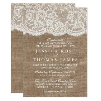 バーラップ及びレースの結婚式のコレクションの招待状 12.7 X 17.8 インビテーションカード