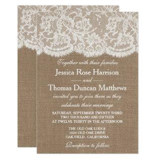 バーラップ及びレースの結婚式のコレクションの招待状 自分だけの招待状