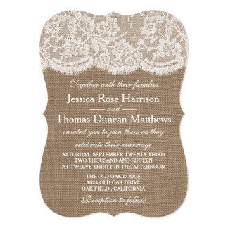 バーラップ及びレースの結婚式のコレクションの招待状 招待状