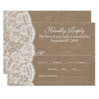 バーラップ及びレースの結婚式のコレクションRSVPカード 自分だけの案内状