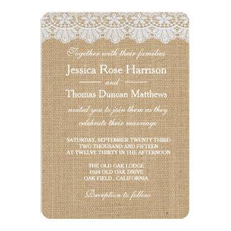 バーラップ及びレースの結婚式招待状カード 12.7 X 17.8 インビテーションカード