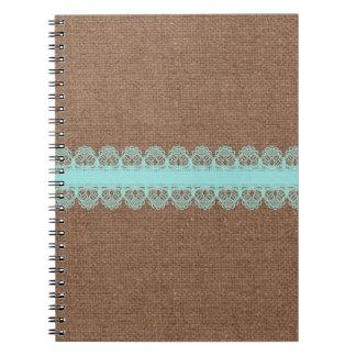 バーラップ-ぼろぼろの上品に対する淡い色のなターコイズのレース ノートブック