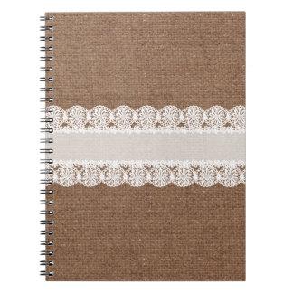 バーラップ-ぼろぼろの上品の白いレースの花のリボン ノートブック