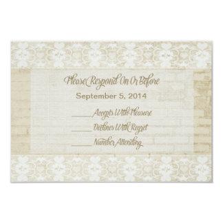 バーラップ、レースおよび素朴な煉瓦RSVP結婚式 カード