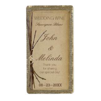 バーラップ、小枝および麻ひもの結婚式のワインID132 発送ラベル
