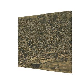 バーリントンアイオワ(1889年)のヴィンテージの絵解き地図 キャンバスプリント