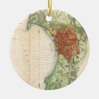 バーリントンヴァーモント(1763年)のヴィンテージの地図 セラミックオーナメント