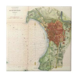 バーリントンヴァーモント(1763年)のヴィンテージの地図 タイル