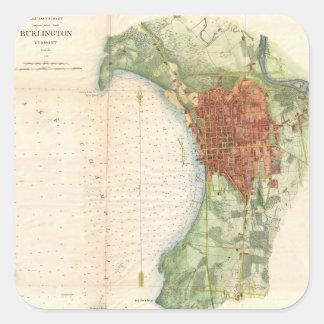 バーリントンヴァーモント(1872年)のヴィンテージの地図 スクエアシール
