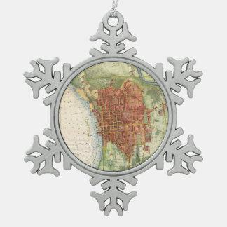 バーリントンヴァーモント(1872年)のヴィンテージの地図 スノーフレークピューターオーナメント