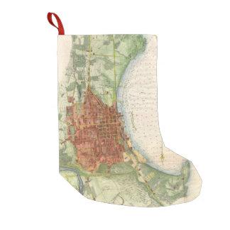 バーリントンヴァーモント(1872年)のヴィンテージの地図 スモールクリスマスストッキング