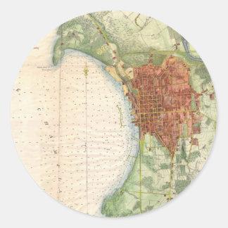 バーリントンヴァーモント(1872年)のヴィンテージの地図 ラウンドシール