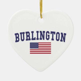 バーリントンNC米国の旗 セラミックオーナメント