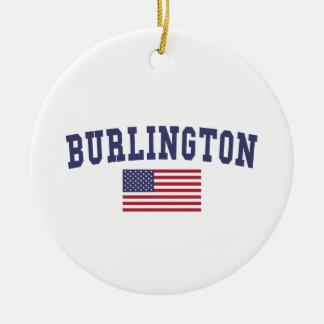 バーリントンVT米国の旗 セラミックオーナメント