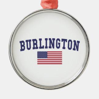 バーリントンVT米国の旗 メタルオーナメント