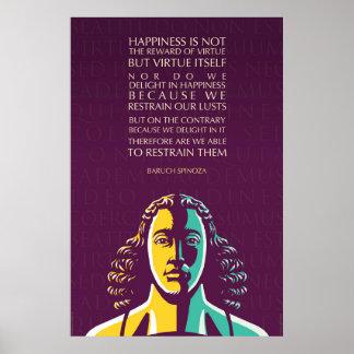 バールーフ・デ・スピノザの引用文: 幸福は報酬ではないです ポスター