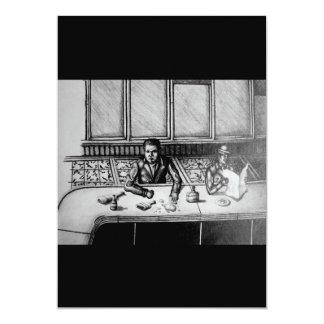 バー場面手描きの招待 カード