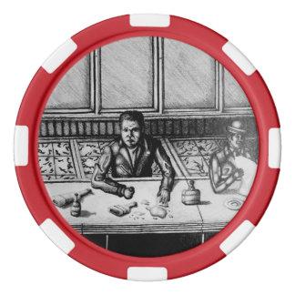 バー場面手描きの破片 カジノチップ