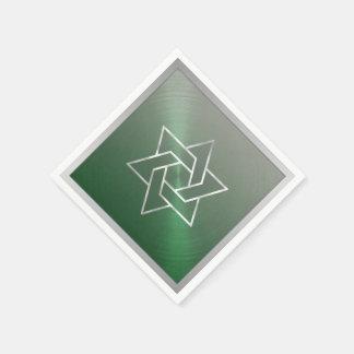 バー(ユダヤ教の)バル・ミツバーか緑の灰色バルミツワーのダビデの星 スタンダードカクテルナプキン