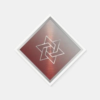 バー(ユダヤ教の)バル・ミツバーか赤い灰色バルミツワーのダビデの星 スタンダードカクテルナプキン