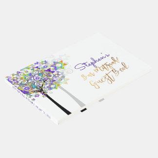 バー(ユダヤ教の)バル・ミツバーまたは紫色PixDezinesの生命の樹 ゲストブック
