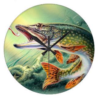 パイクの魚釣りの柱時計 ラージ壁時計