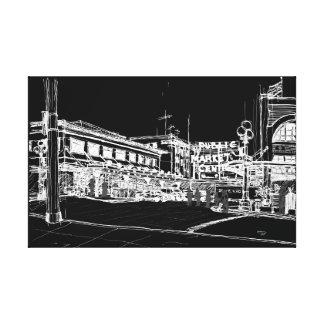 パイクプレースマーケット、シアトル。 夜空 キャンバスプリント