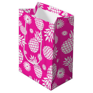 パイナップルおよびデイジーのピンクの白いギフトバッグ ミディアムペーパーバッグ
