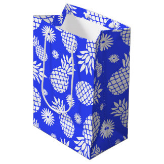 パイナップルおよびデイジーの青く白いギフトバッグ ミディアムペーパーバッグ