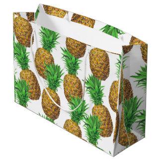 パイナップルが付いている継ぎ目が無いパターン ラージペーパーバッグ