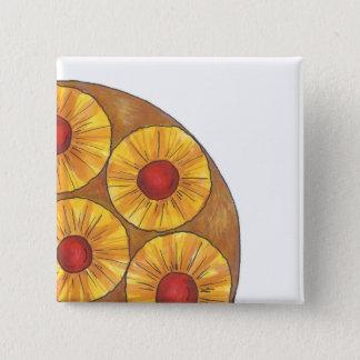 パイナップルアップサイドダウンケーキのグルメのデザートボタン 5.1CM 正方形バッジ