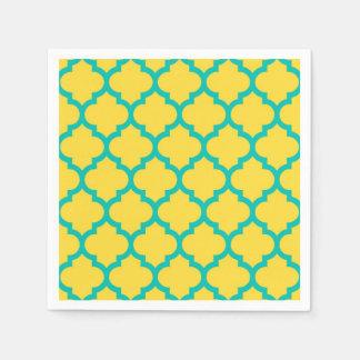 パイナップルティール(緑がかった色)のモロッコのクローバーの格子垣#5 スタンダードカクテルナプキン