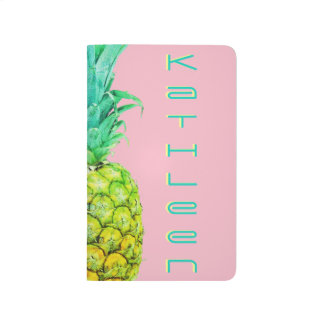 パイナップルネオンピンクの緑のカスタムな小型ジャーナル ポケットジャーナル