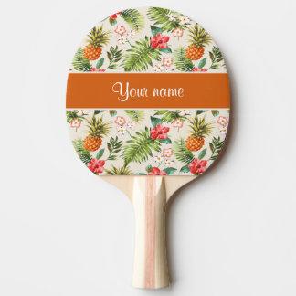 パイナップルハイビスカスおよびやし葉状体 卓球ラケット