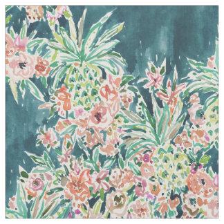 パイナップルパーティーの緑豊かな熱帯Bohoの花柄 ファブリック
