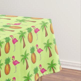 パイナップルピンクのフラミンゴのヤシの木の熱帯プリント テーブルクロス