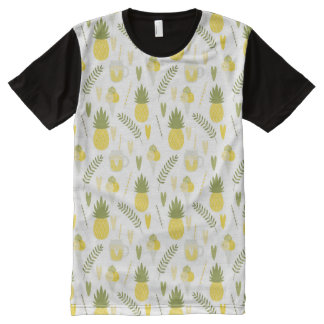 パイナップルフルーツおよびジュースパターン人のTシャツ オールオーバープリントT シャツ
