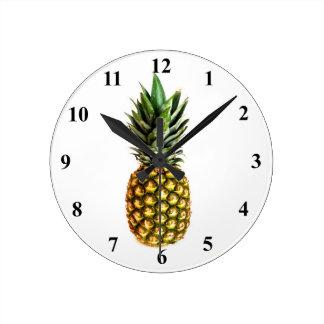 パイナップルプリントの柱時計 ラウンド壁時計