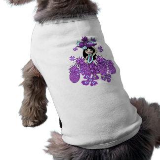 パイナップルルアウ(ハワイ式宴会)の小犬のTシャツ ペット服