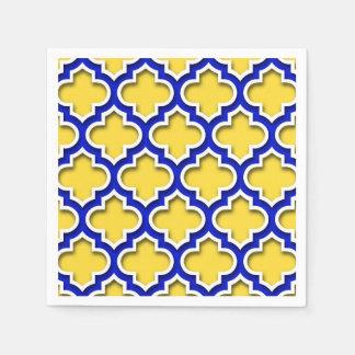 パイナップルロイヤルブルーの白いモロッコのクローバー#5DS スタンダードカクテルナプキン