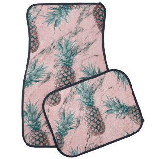 パイナップル及びピンクの大理石の渦巻のモダンな熱帯上品 カーマット