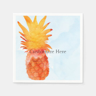 パイナップル水彩画の熱帯夏のパーティ スタンダードカクテルナプキン