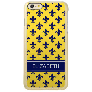 パイナップル海軍(紋章の)フラ・ダ・リ海軍名前のモノグラム INCIPIO FEATHER SHINE iPhone 6 PLUSケース
