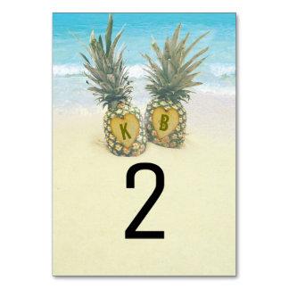パイナップル熱帯ビーチのデスティネーションテーブル数 カード