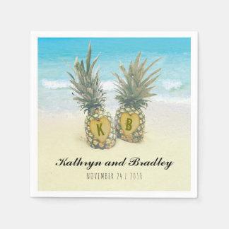 パイナップル熱帯ビーチの行先の結婚式 スタンダードカクテルナプキン